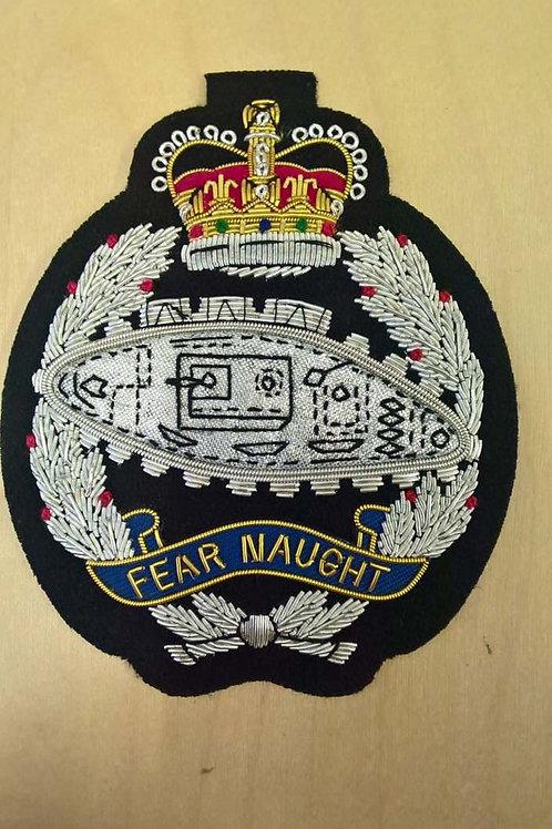 Royal Tank Regiment (RTR) gold wired padded Blazer Badge