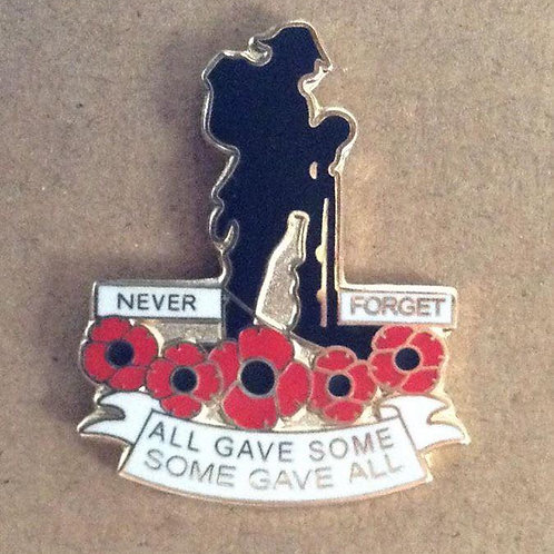 Silhouetted Soldier lapel pin badge