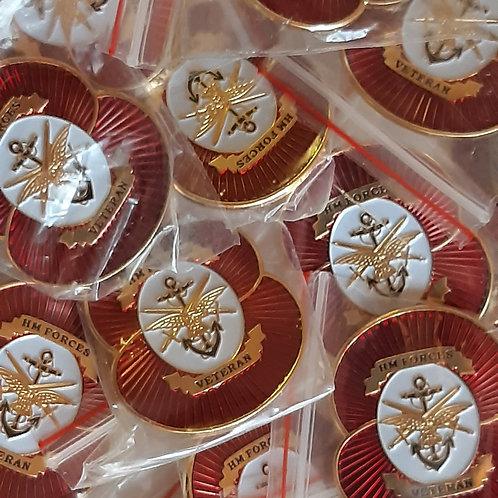 HMForces Veteran Poppy pin badge (3cm x 3.5cm)