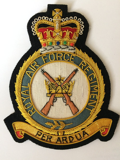 Royal Air Force Regiment (RAF Regt) gold wired padded Blazer Badge