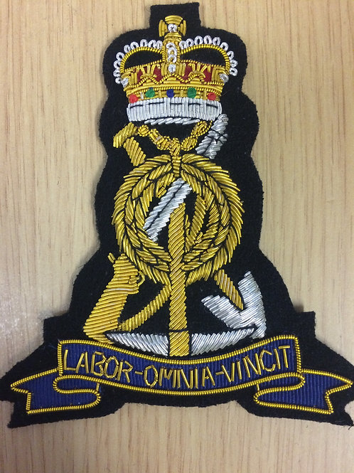 Royal Pioneer Corps (RPC) gold wired padded Blazer Badge