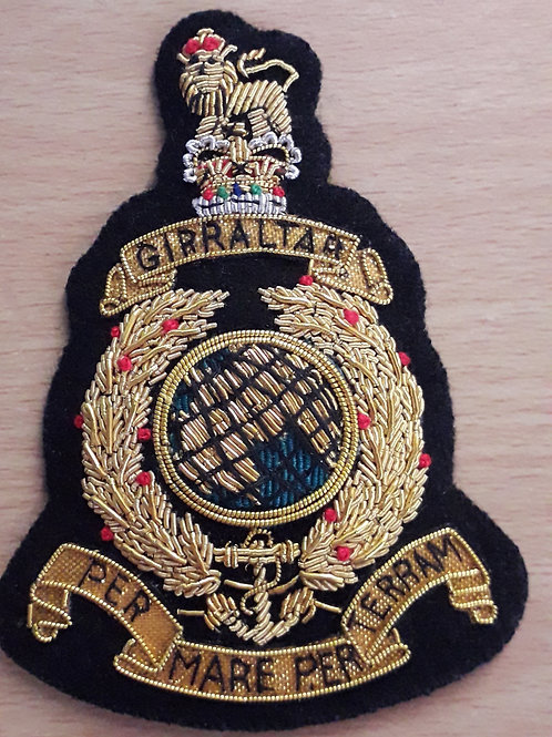 Royal Marines (RM) gold wired padded Blazer Badge