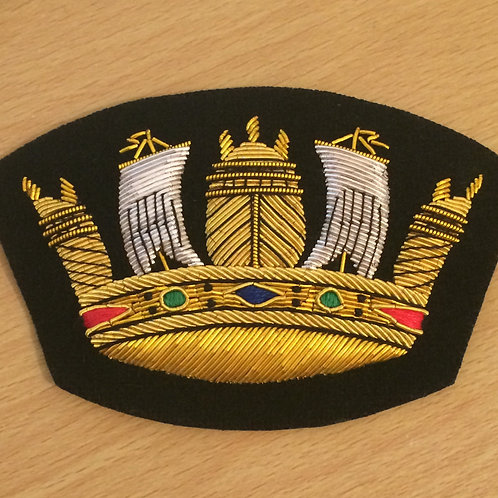 Royal Navy (RN) Crown gold wired padded Blazer Badge