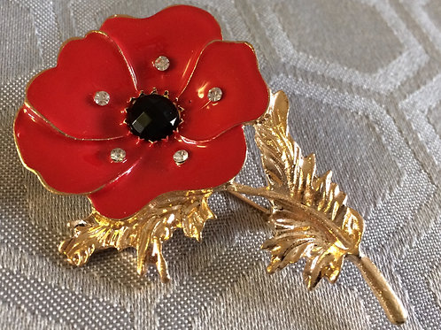 Brooch - Enamel poppy with gold coloured stem