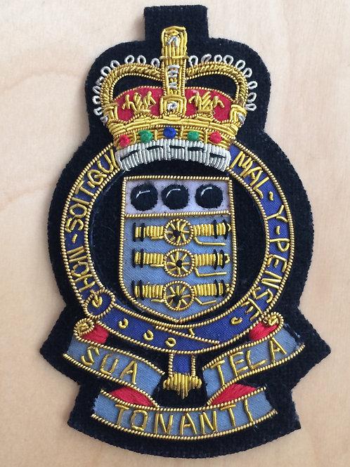 Royal Army Ordnance Corps (RAOC) gold wired padded Blazer Badge