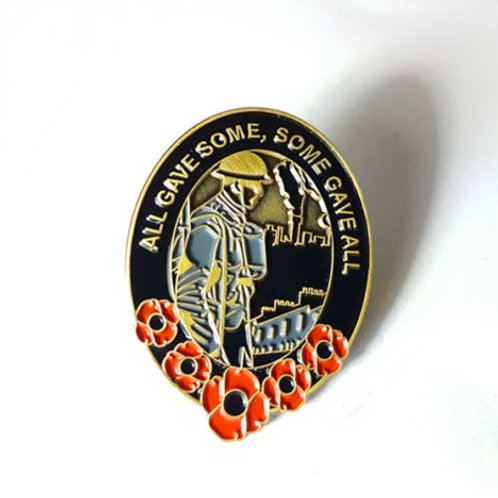 Blitz image commemorative oval lapel pin badge