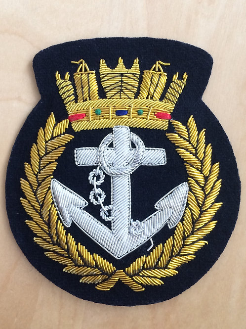 Royal Navy (RN) Crown & Anchor gold wired padded Blazer Badge