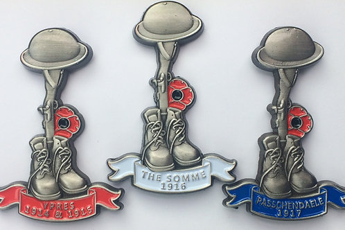 WW1 battles commemorative pin badges