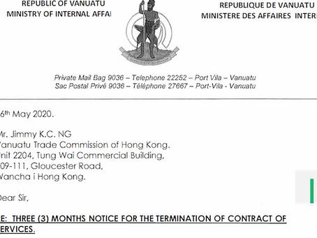 "Vanuatu's Dual-CIP Era Drawing to a Close? ""Hong Kong-Jimmy"" Receives Termination Notice"