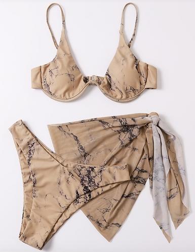 3 Piece Marble Bikini Set
