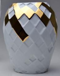 Vaso Arlequim P detalhe Ouro em Porcelana (Holaria)
