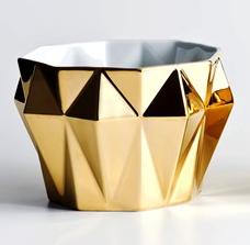 Cachepot Diamante Ouro em Porcelana (Holaria)