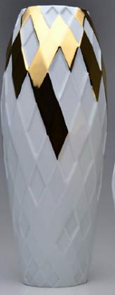 Vaso Arlequim G detalhe Ouro em Porcelana (Holaria)