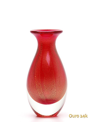 Vaso Mini 2 Vermelho com Ouro (Cristais Cá D'óro)