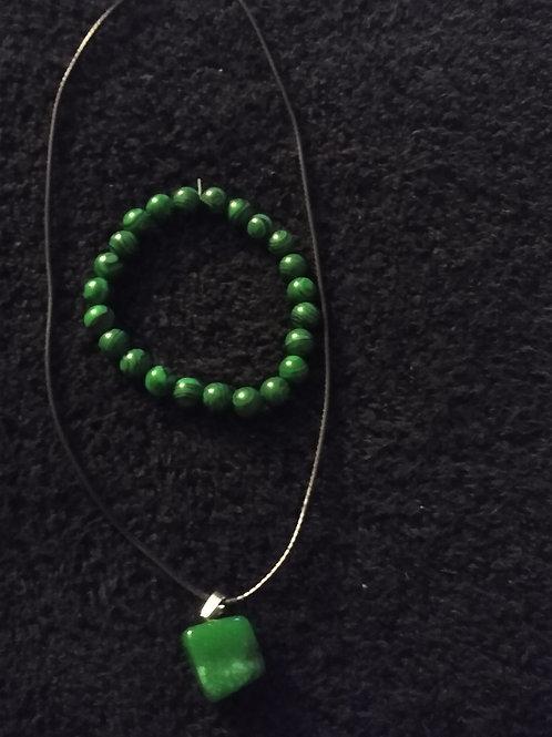 Green Malachite Necklace & Bracelet Set