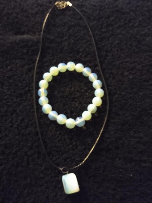 Opalite Bracelet & Necklace Set