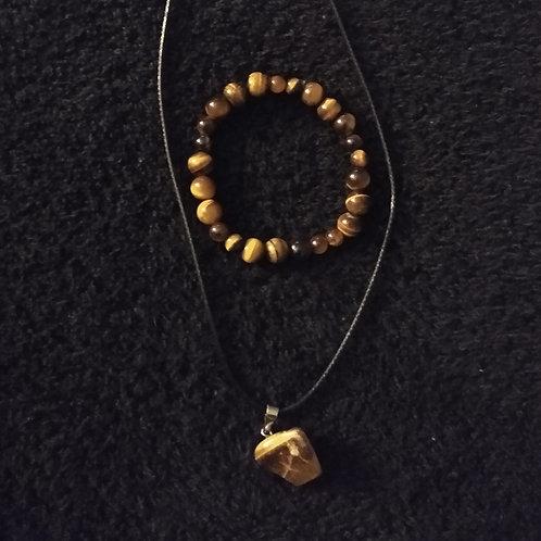 Tiger Eye Necklace & Bracelet Set