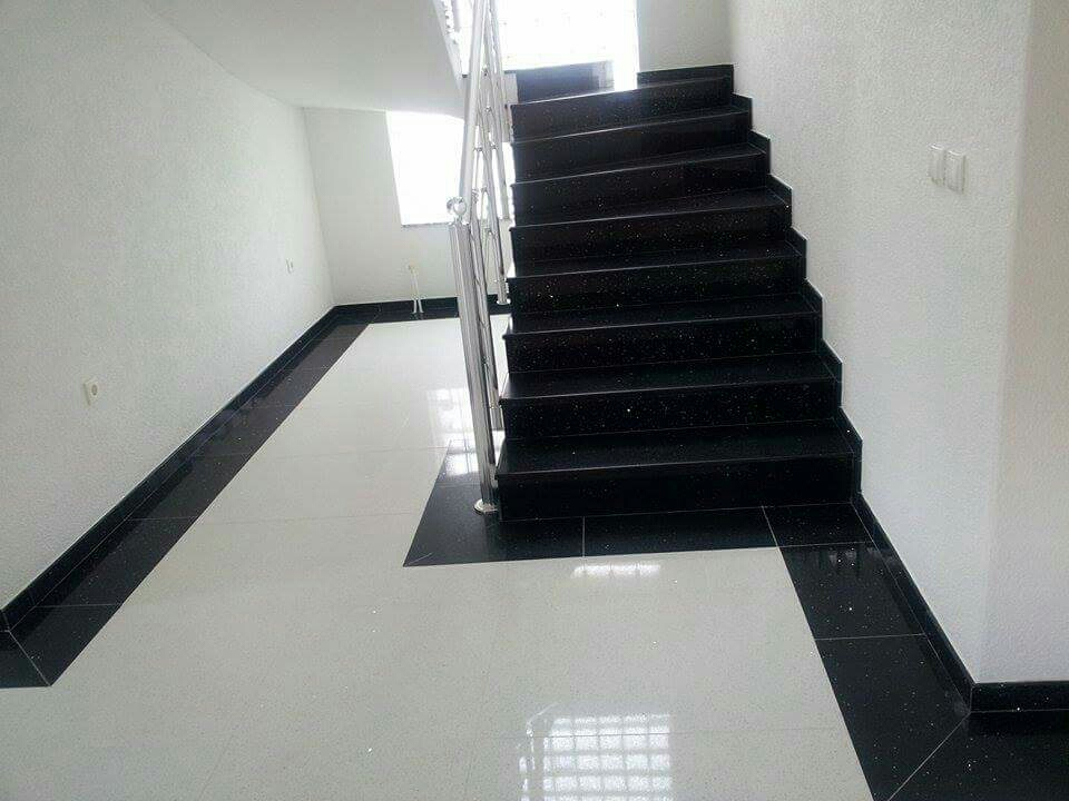 Black and White quartz tiles
