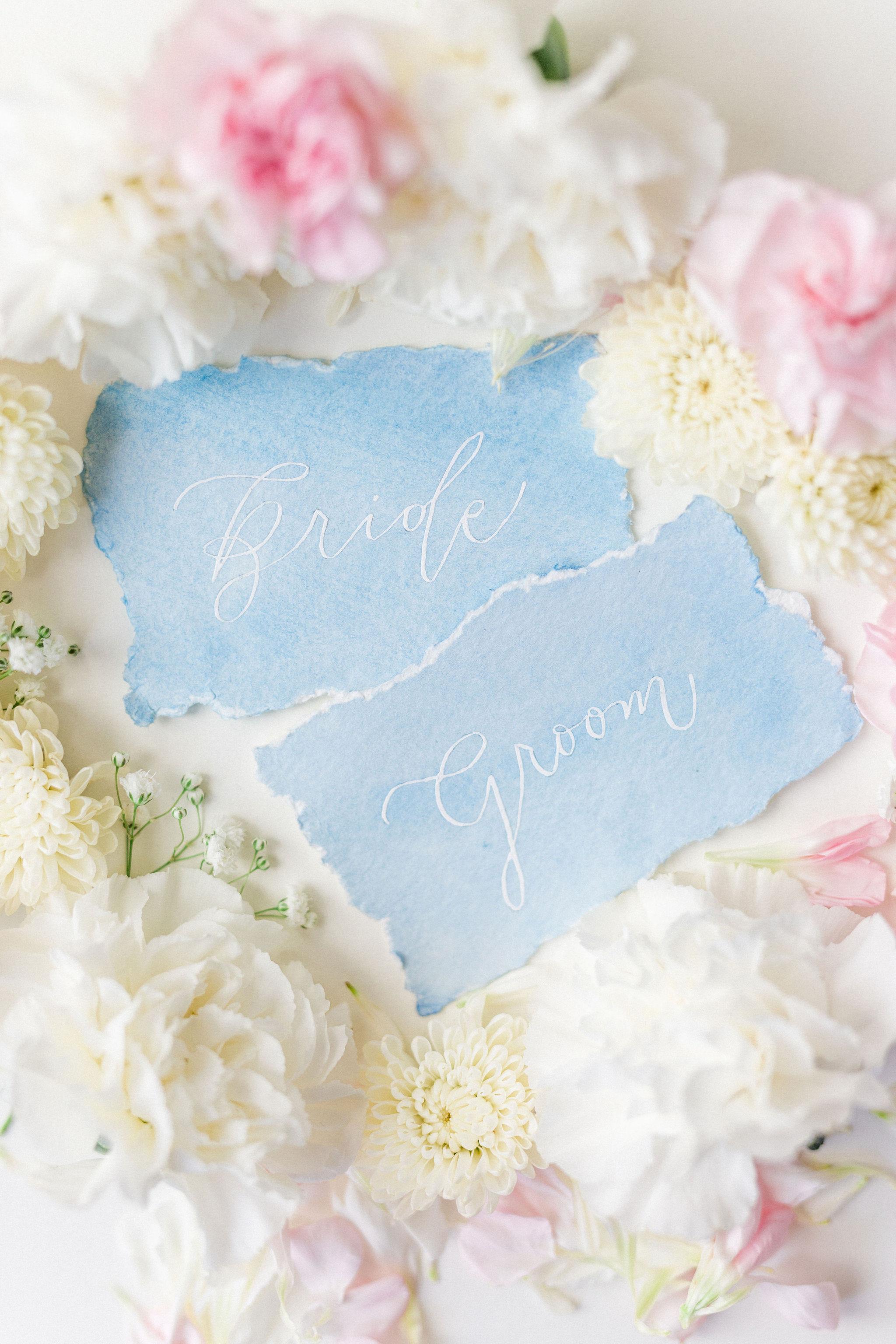 Wedding Bride Groom Place Cards Handtorn Watercolor