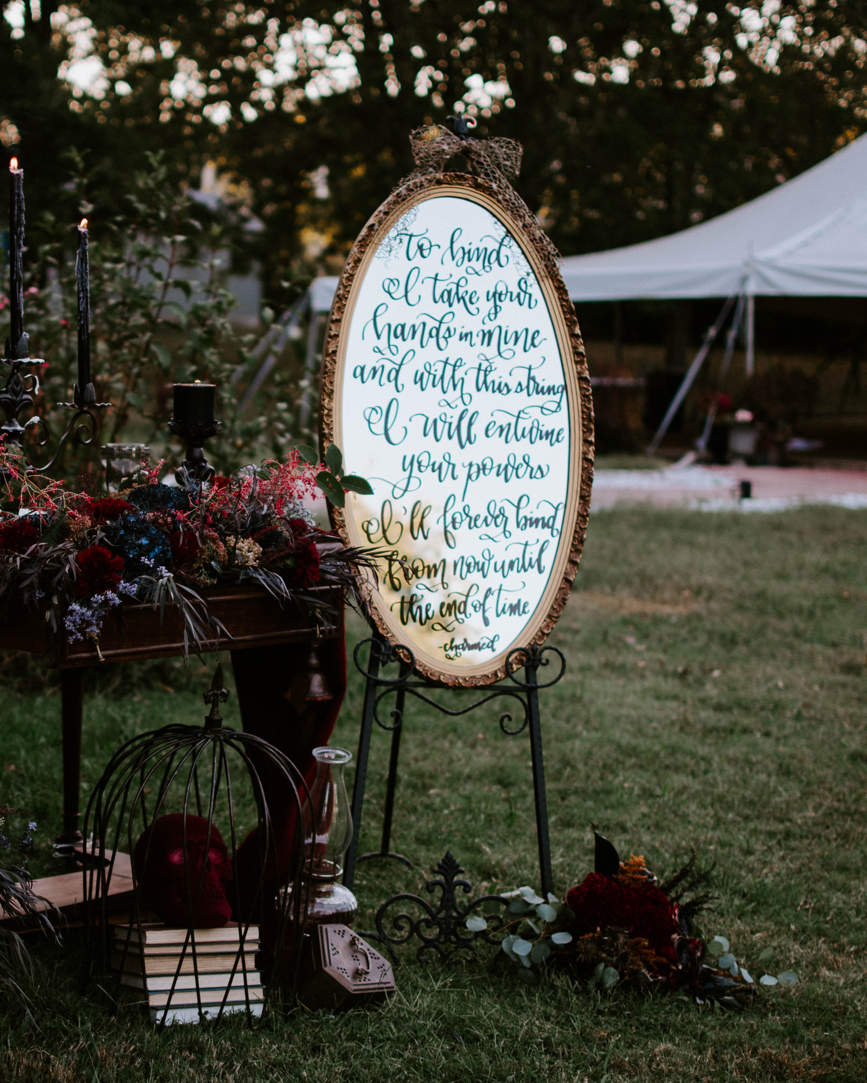 Wedding Sign Calligraphy Mirror Quote Dark and Moody