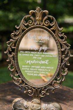 Calligraphy Wedding Bar Menu Mirror Sign