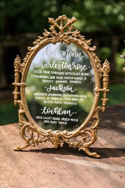 Wedding Sign Mirror Bar Menu Calligraphy