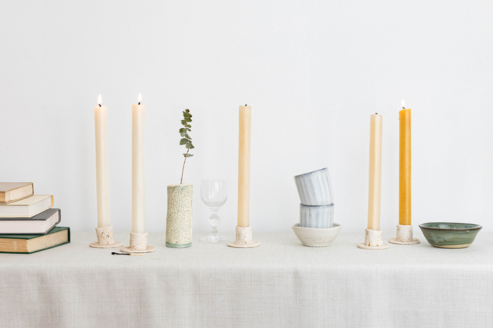 still life candle table