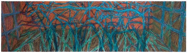 Zoological Museum - Display 3  27 x 100 cm  wax pastel on paper  2021         100 x 33 cm