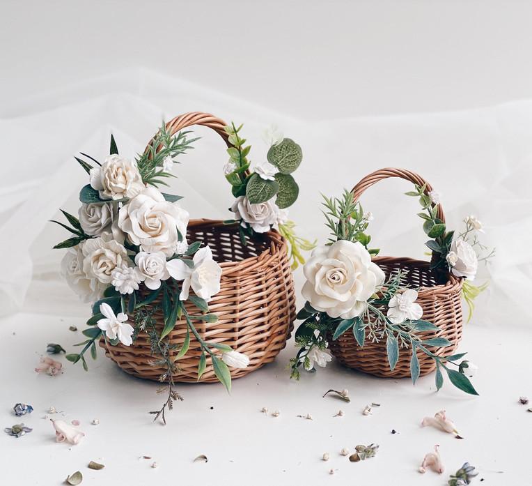 Flower girl basket, White flower girl Ba