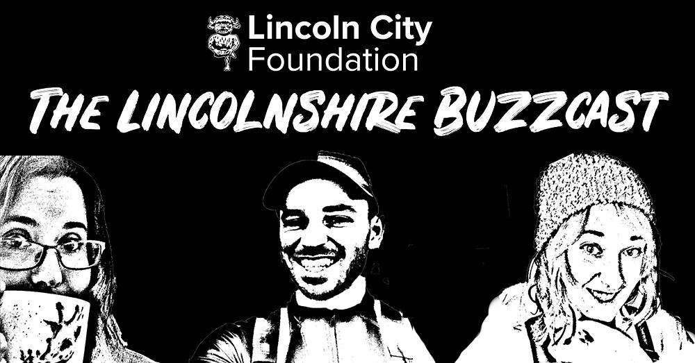A Black and white sketched image of Lizi, Danny and Hanna with the title 'The Lincolnshire Buzzcast'