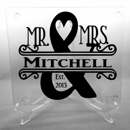 Personalized Mr. and Mrs. with heart cutting board, trivet, coaster