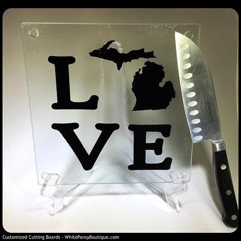 Love Michigan cutting board, trivet, or coaster