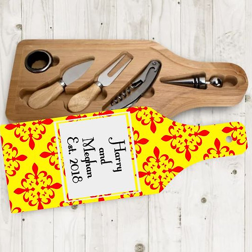 Customized Wine and Cheese Board with 5 tools wedding, house warming gift