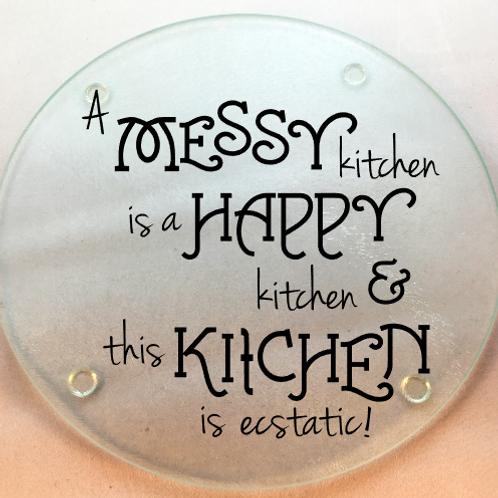 Messy Kitchen cutting board, trivet, coaster