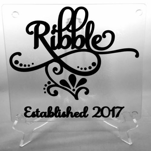 Personalized Flourish cutting board, trivet, coaster