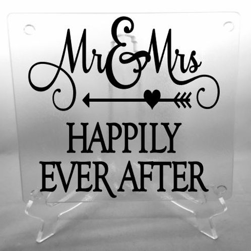 Mr. and Mrs. Happily Ever After cutting board, trivet, coaster