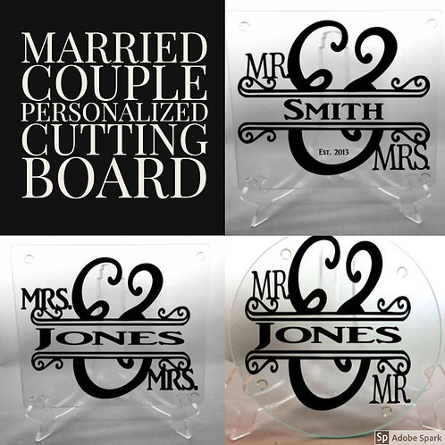 Personalized Mr. and Mr. cutting board, trivet, coaster