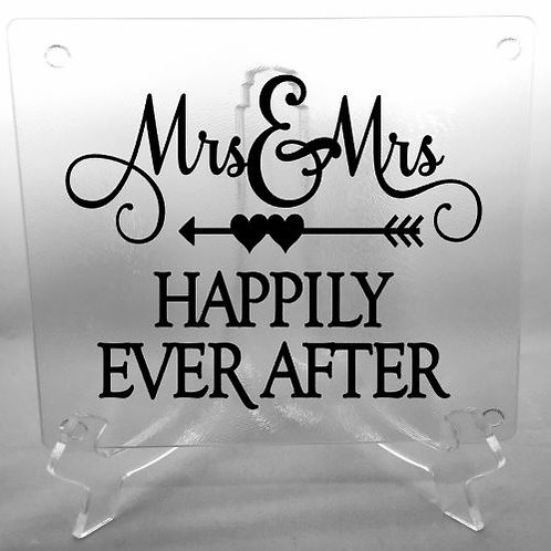 Mrs. and Mrs. Happily Ever After cutting board, trivet, coaster