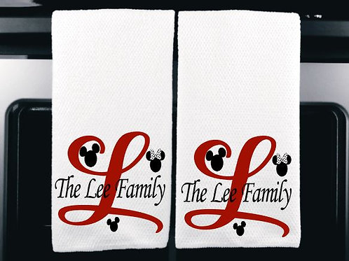 Set of 2 Personalized Family with Mouse Ears Microfiber Kitchen Towel