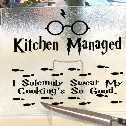 "Harry Potter ""Kitchen Managed"" cutting board, trivet or c"