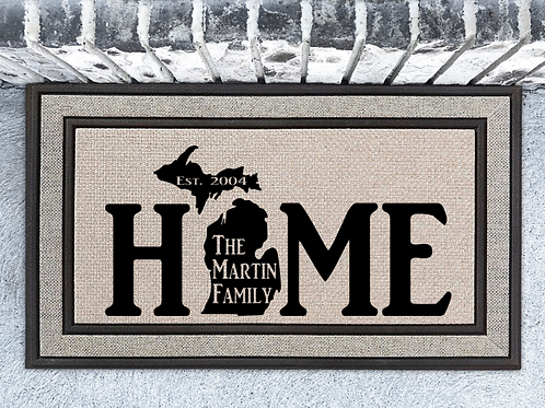 Personalized Michigan HOME Family Name Welcome Mat Door Mat