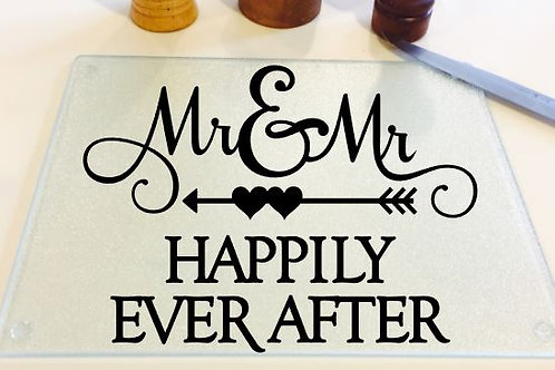 Mr. and Mr. Happily Ever After cutting board, trivet, coaster