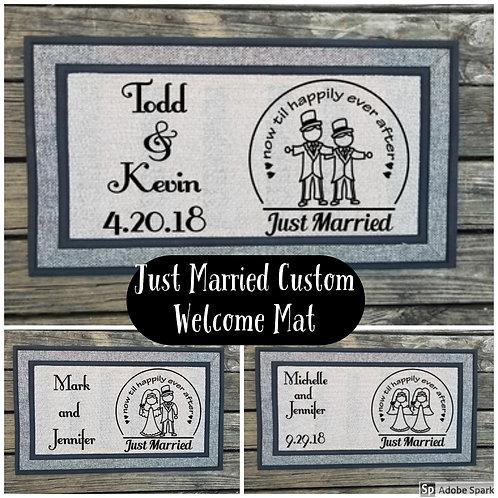 Personalized Just Married Welcome Mat Door Mat