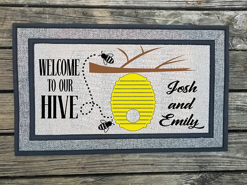 Personalized Welcome to our hive couples Name Welcome Mat Door Mat