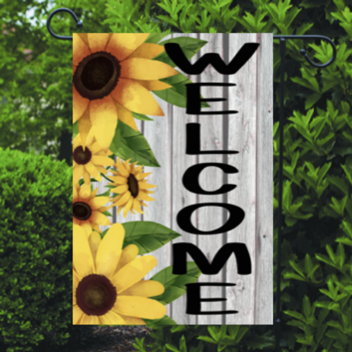 Welcome Garden Flag Sunflowers Wood background