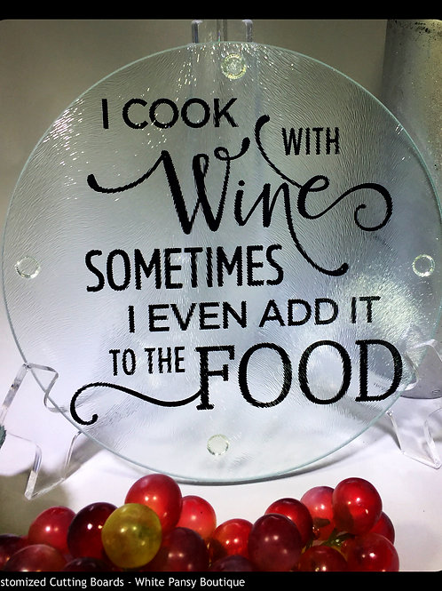 I Cook With Wine Cutting Board, Trivet or coaster