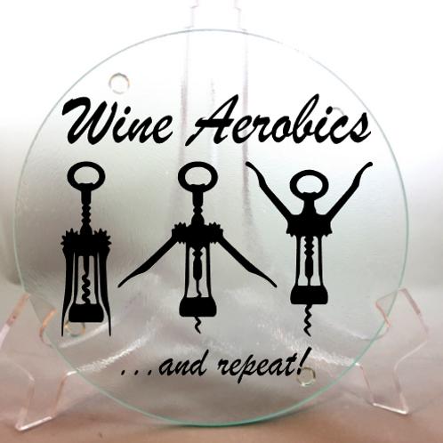 Wine Aerobics, cork screw, cutting board, trivet,or coaster