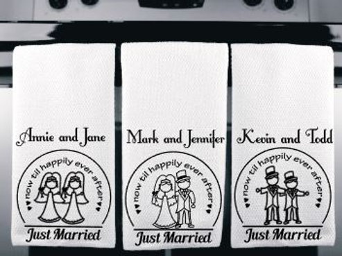 Set of 2 Just Married Personalized Microfiber Kitchen Tow
