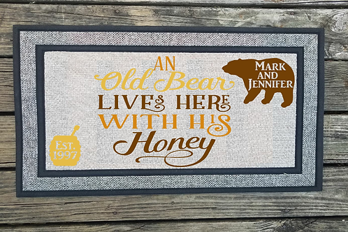 Personalized old bear and honey live here Welcome Mat Door Mat