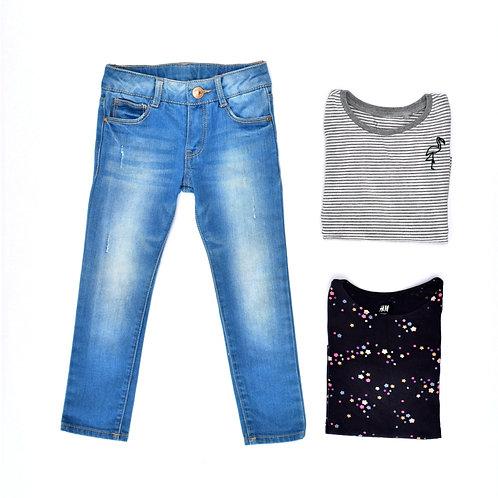2-3Y | ZARA /H&M/NEXT | סט ג'ינס פסים וכוכבים
